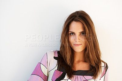 Buy stock photo Portrait of a fresh and beautiful young fashion mo