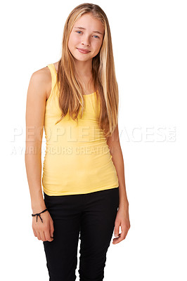 Buy stock photo Portrait of a positive teen girl isolated on white