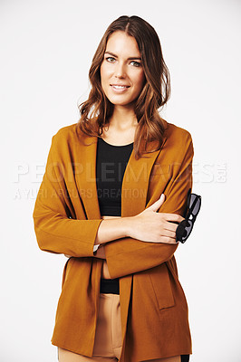 Buy stock photo Portrait of a beautiful and stylish young woman