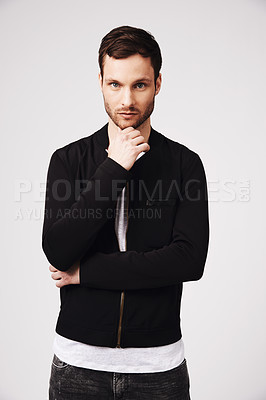 Buy stock photo Portrait of a stylish and thoughtful looking young man