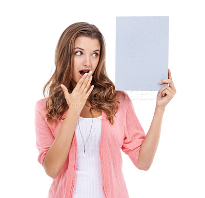 Buy stock photo A gorgeous woman with a surprised look on her face isolated on a white backgound