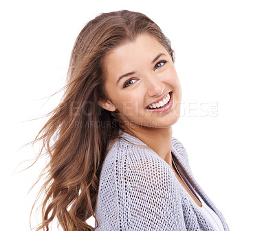 Buy stock photo A young woman smiling at the camera