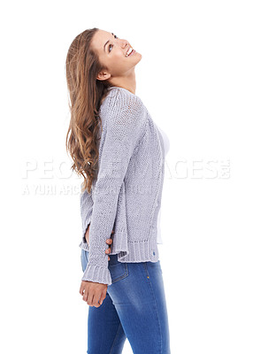 Buy stock photo A beautiful young woman isolated against white