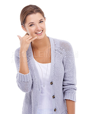 Buy stock photo A young woman gesturing at you to call her