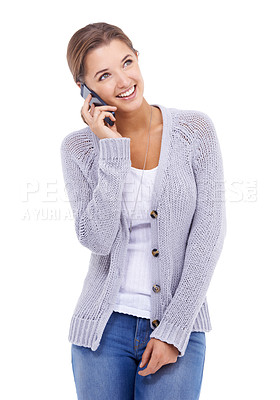 Buy stock photo A young woman speaking on her cellphone while isolated on a white background