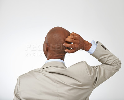 Buy stock photo Rearview of a young businessman