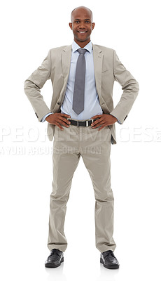 Buy stock photo An African-American businessman standing with his hands on his hips