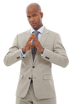 Buy stock photo An Affrican-American businessman standing with his hands steepled