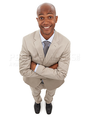 Buy stock photo A handsome african-american man with his arms folded