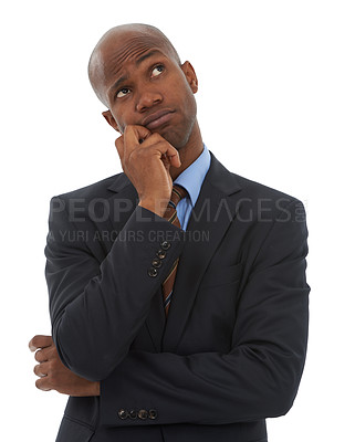 Buy stock photo Studio shot of a bored-looking businessman isolated on white