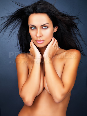 Buy stock photo Portrait of topless woman covering breasts with hands