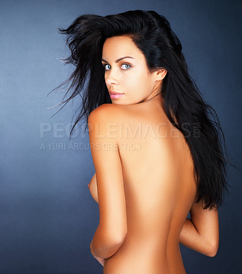 Buy stock photo Rear view of a nude woman with a sensuous look