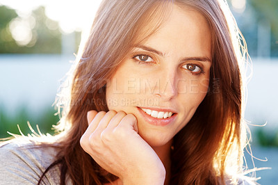 Buy stock photo Gorgeous young lady looking confident