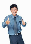 Cheerful business man with thumbs up