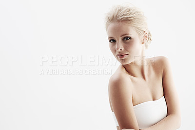 Buy stock photo A pretty young blonde woman isolated on a white background