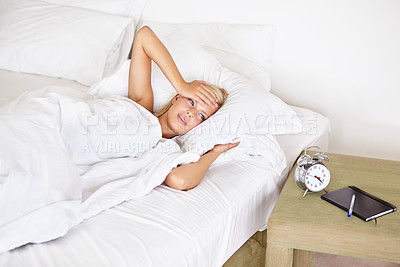 Buy stock photo A gorgeous young woman struggling to get back up
