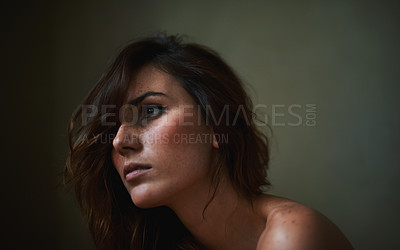 Buy stock photo Young nude woman looking away pensively