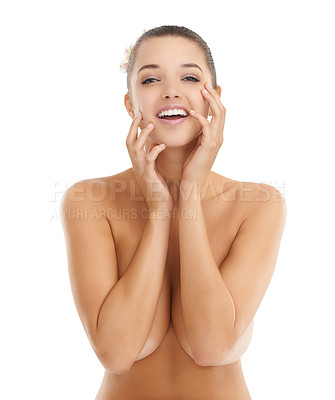 Buy stock photo Portrait of a beautiful young woman touching her face