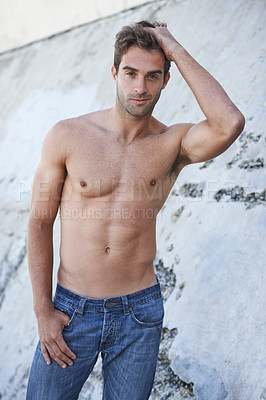 Buy stock photo Portrait of a bare-chested handsome man outdoors