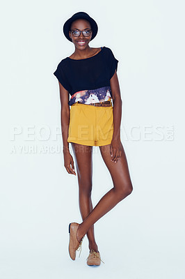 Buy stock photo A quirky african american woman posing in the latest fashion