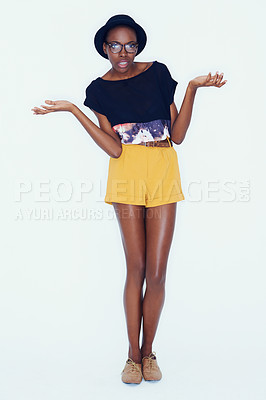 Buy stock photo A young model having fun with poses