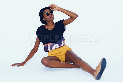 Buy stock photo A young model posing on white