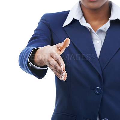 Buy stock photo A happy young woman extending her hand for a handshake