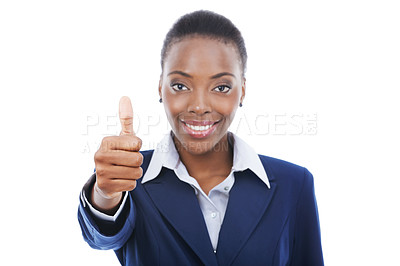 Buy stock photo Studio portrait of a young business woman giving a thumbs up to the camera