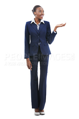 Buy stock photo A beautiful young african american businesswoman supporting copyspace isolated on white