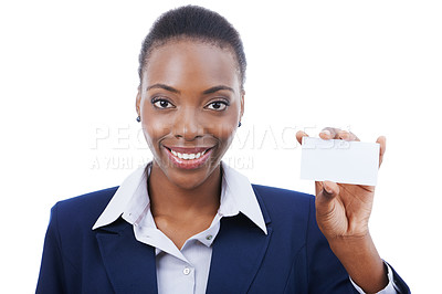 Buy stock photo Studio portrait of a businesswoman holding up a blank business card isolated on white