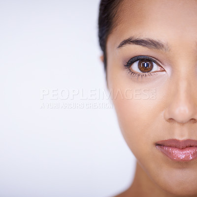 Buy stock photo Close up studio shot of young attractive woman