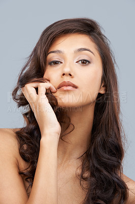 Buy stock photo Portrait of a beautiful woman looking at the camera