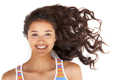 Buy stock photo Pretty woman with curly hair smiling at the camera with isolated background