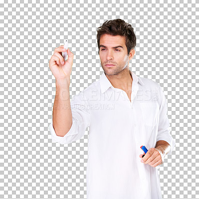 Buy stock photo A man holding a pen and thinking about what to write with checkered background