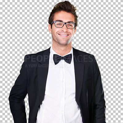 Buy stock photo A young man wearing a suit and bow tie - isolated