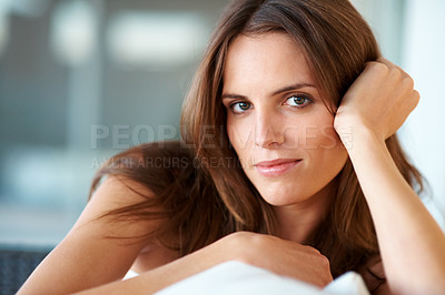 Buy stock photo Closeup of beautiful young woman looking happy