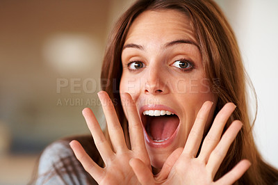 Buy stock photo Closeup of pretty young woman yelling