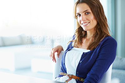 Buy stock photo Portrait of cute young lady smiling - Indoor