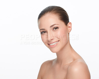 Buy stock photo Portrait of a beautiful smiling woman