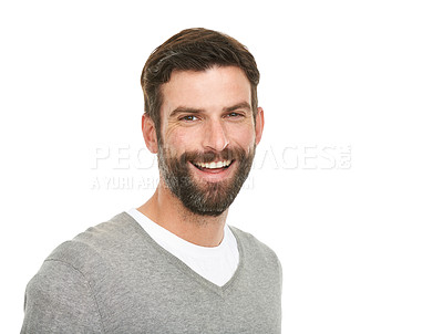 Buy stock photo Studio shot of a young man smiling at the camera
