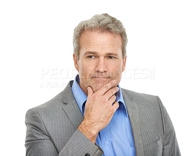 Buy stock photo Studio shot of a thoughtful-looking mature businessman