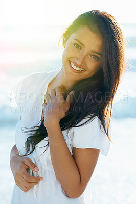 Buy stock photo Pretty woman smiling at the camera