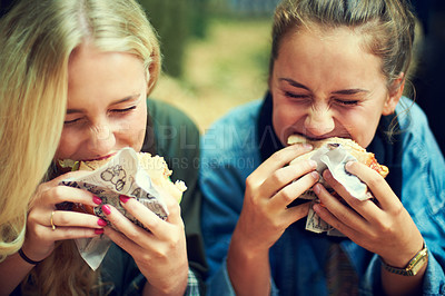 Buy stock photo Shot of two young women eating at an outdoor festival