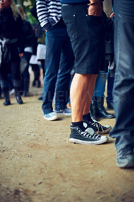Buy stock photo A group of men standing in a queue