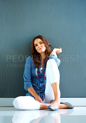 Buy stock photo Beautiful young female looking away in thought