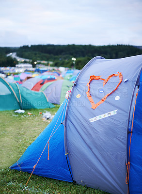 Buy stock photo Cropped shot of various tents set up at an outdoor festival