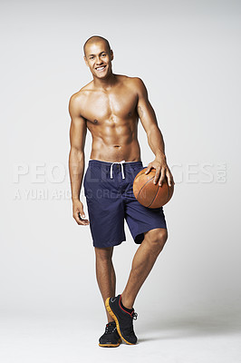Buy stock photo Full length studio portrait of a young bare-chested basketball player