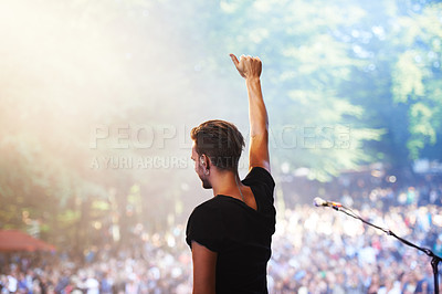 Buy stock photo Cropped shot of a large crowd at a music concert