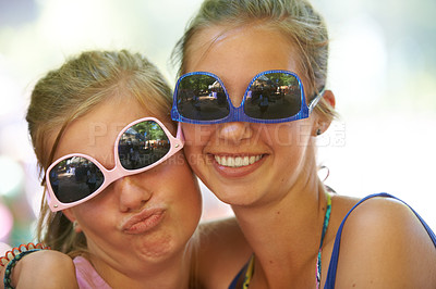 Buy stock photo Cropped portrait of a group of girlfriends at an outdoor festival