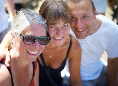 Buy stock photo Portrait of three adults at an outdoor festival